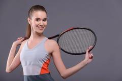 Młody i seksowny gracz w tenisa zdjęcie royalty free