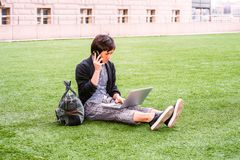 Młody Japoński mężczyzna podróżować, pracuje w Nowy Jork Fotografia Royalty Free