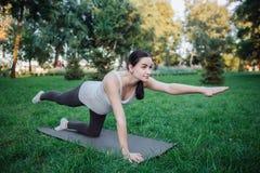 Młody kobieta w ciąży stojak na kolanach i ćwiczyć na joga szturmanie w parku Ona rozciąganie ręki i nogi Skoncentrowany i zdjęcie royalty free