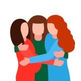 Młody kobiety w ciąży uściśnięcie przy spotkaniem Pojęcie zakon żeński, feminizm, żeńska przyjaźń, pamiętający ludzie i dziecko p royalty ilustracja