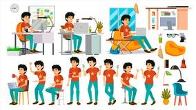 Młody kodera charakteru wektor Sieć przedsiębiorcy budowlanego programowanie Cyfrowanie, oprogramowanie rozwój JavaScript IT rozp royalty ilustracja