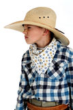 Młody kowboj z szydzi wyrażenia być ubranym ogromni kowbojscy brzęczenia Obrazy Royalty Free