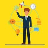 Młody kreskówka biznesmen i cyfrowy nowożytny biznesowy tło Globalny partnerstwo, wirelless technologia, blockchain royalty ilustracja