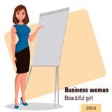Młody kreskówka bizneswoman stoi blisko biuro deskowej robi prezentaci Piękna dziewczyna przedstawia plan biznesowego, rozpoczęci Zdjęcie Stock