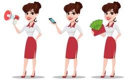 Młody kreskówka bizneswomanu set Piękna dama z głośnikiem Zdjęcia Stock