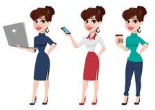Młody kreskówka bizneswomanu set Piękna dama z laptopem, dowcip Obraz Royalty Free