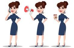 Młody kreskówka bizneswomanu set Piękna dama z smartphone, Zdjęcia Royalty Free