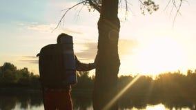 Młody męski backpacker cieszy się zmierzch blisko jeziora, trekking w lesie, podróżuje zbiory