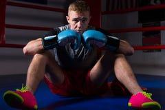 Młody męski bokser siedzi w miarowym bokserskim pierścionku w bokserskich rękawiczkach Zdjęcie Stock