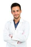 Młody Męski dentysta odizolowywający na bielu Obraz Stock