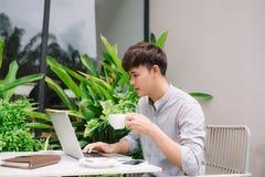 Młody męski freelancer pracuje z laptopem w comfortabl Obraz Royalty Free
