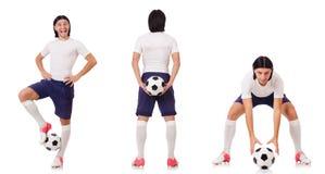 Młody męski gracz futbolu odizolowywający na bielu Obraz Royalty Free