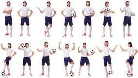 Młody męski gracz futbolu odizolowywający na bielu Zdjęcie Royalty Free
