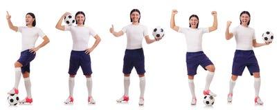 Młody męski gracz futbolu odizolowywający na bielu Obrazy Stock