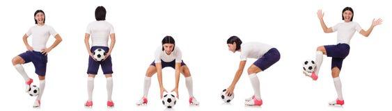 Młody męski gracz futbolu odizolowywający na bielu Fotografia Royalty Free