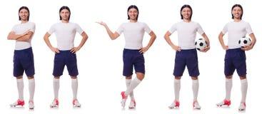 Młody męski gracz futbolu odizolowywający na bielu Zdjęcia Stock