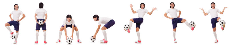 Młody męski gracz futbolu odizolowywający na bielu Zdjęcie Stock