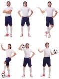 Młody męski gracz futbolu odizolowywający na bielu Fotografia Stock