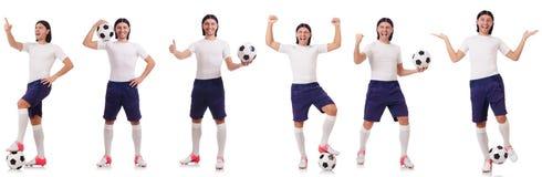 Młody męski gracz futbolu odizolowywający na bielu Obrazy Royalty Free
