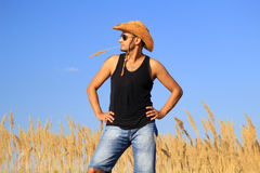 Młody męski rolnik w polu Fotografia Stock
