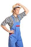 Młody męski rolnik z Panama kapeluszu pozować Zdjęcia Stock