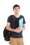 Młody męski student collegu z książkami Obraz Royalty Free