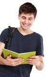 Młody męski student collegu z książkami Zdjęcia Royalty Free