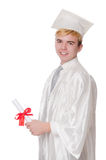 Młody męski uczeń kończący studia od szkoły średniej Fotografia Stock