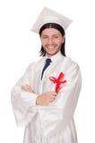 Młody męski uczeń kończący studia od szkoły średniej zdjęcie stock
