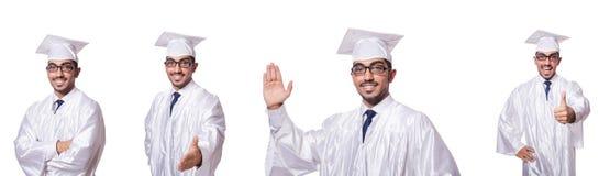 Młody męski uczeń odizolowywający na bielu Zdjęcie Stock