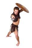 Młody męski wojownik z osłoną Zdjęcie Stock