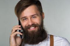 Młody manwith telefon fotografia stock