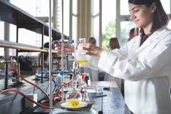 Młody medycyna przedsiębiorcy budowlanego środka farmaceutycznego badacz Kobiety chemistUniversity genialny profesor stażysta Roz Obraz Stock