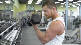 Młody mięśniowy mężczyzna robi ćwiczeniu z dumbbells w gym Portret męski bodybuilder przy gym ćwiczyć Zdjęcia Stock