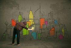 Młody miastowy malarza rysunek Fotografia Stock