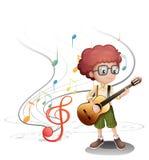 Młody muzyk bawić się gitarę royalty ilustracja