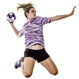 Młody nastolatek dziewczyny kobiety Handball gracz odizolowywający Obraz Stock