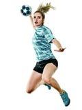 Młody nastolatek dziewczyny kobiety Handball gracz odizolowywający obraz royalty free