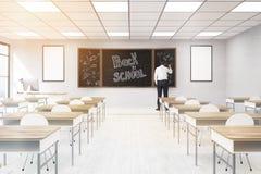 Młody nauczyciel w sala lekcyjnej ilustracji