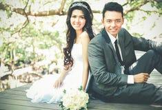 Młody nowożeńcy pary obsiadanie przy drewnianą ścieżką Zdjęcia Stock