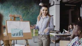 Młody piękny żeński kierownik motywuje wieloetnicznej drużyny pracować Lider zespołu przedstawia pieniężnych dane przy loft biure Zdjęcia Stock