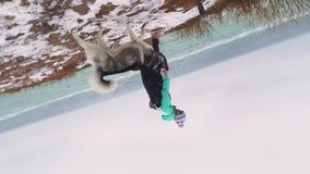 Młody piękny żeński odprowadzenie z siberian husky psem na plaży przy zima dniem, zwolnione tempo zbiory