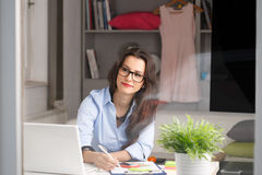 Młody piękny bizneswoman pracuje w domu Fotografia Stock