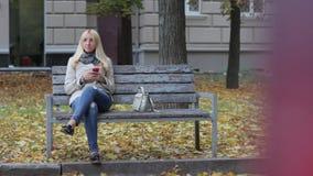 Młody piękny blond dziewczyny obsiadanie na ławce w jesień parku z telefonem w rękach zdjęcie wideo