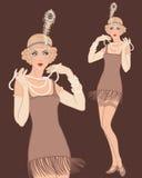Młody piękny blondynki kobiety 20's styl. ilustracja wektor