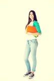 Młody piękny uczeń z kartotekami, workbook Zdjęcie Stock