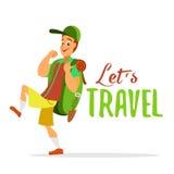 Młody podróżnika odprowadzenie z dużym plecakiem Obrazy Royalty Free