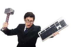 Młody pracownik z klawiaturą odizolowywającą na bielu Obraz Royalty Free