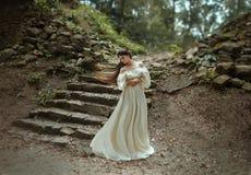 Młody princess z bardzo długie włosy pozować przeciw tłu stary kamienny schody Dziewczyna krystaliczną koronę fotografia royalty free