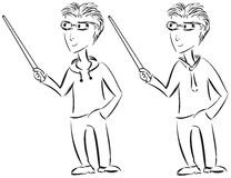 Młody przypadkowy i formalny męskiego charakteru nakreślenie z pointerem ilustracja wektor